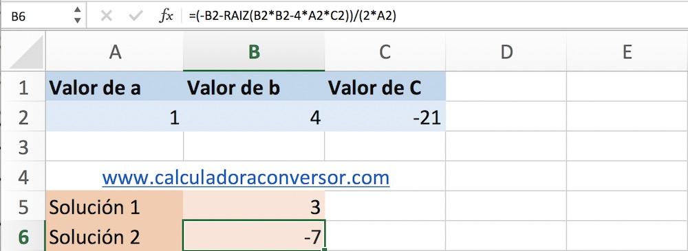 Ecuaciones de segundo grado en Excel