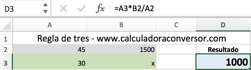 Regla de tres en Excel