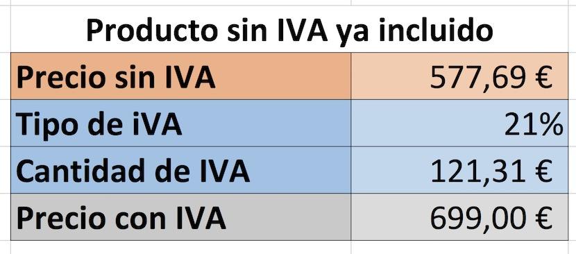 Sumar IVA en Excel