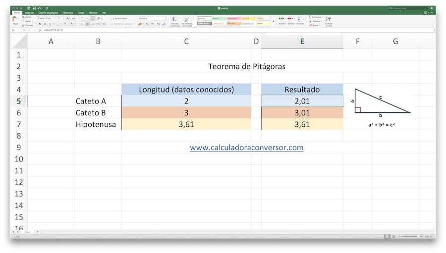 Teorema de Pitágoras en Excel