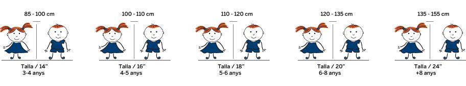 Tallas de bicicleta de niños