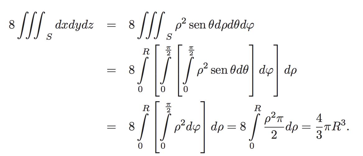 Demostración del volumen de una esfera con integrales triples
