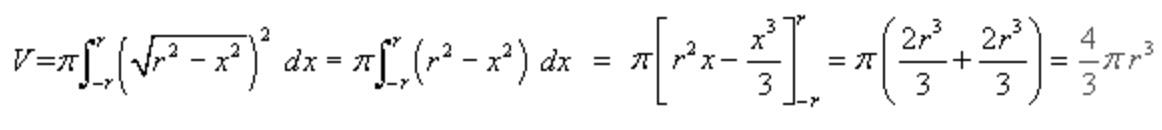 Integral para obtener volumen de esfera