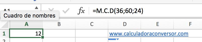 Máximo común divisor en Excel