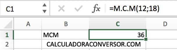 Calcular MCM en Excel