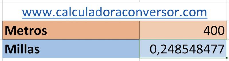 Conversor de metros a millas en Excel