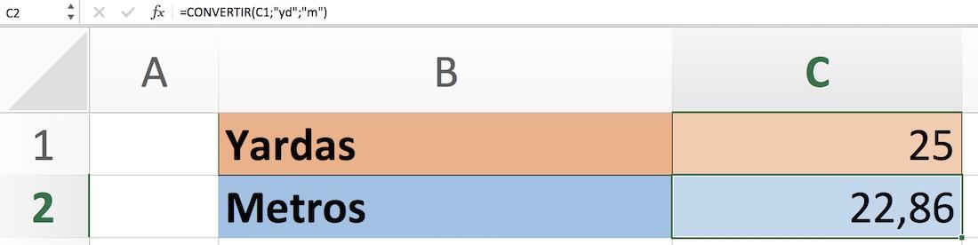 Yardas a metros en Excel