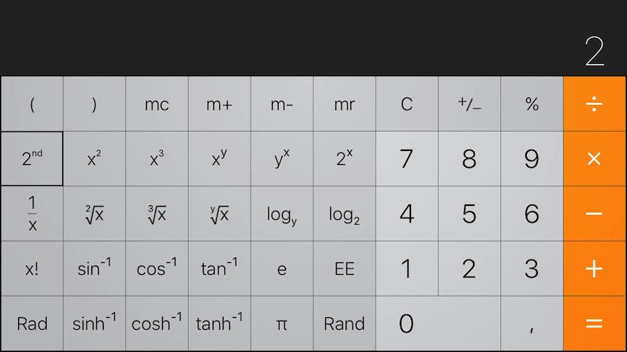 Arcotangente en la calculadora del iPhone