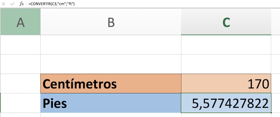 cm a pies en Excel