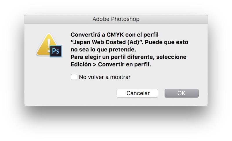 Convertir imagen CMYK a RGB en Photoshop