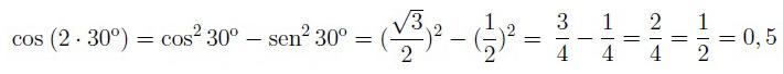 Coseno del ángulo doble