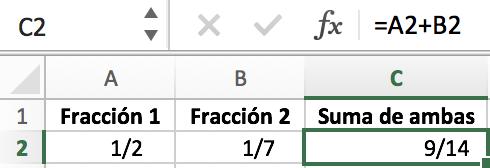 Suma de fracciones en Excel
