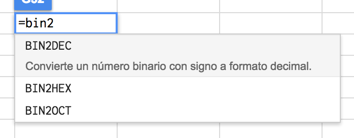 Google sheets como traductor binario