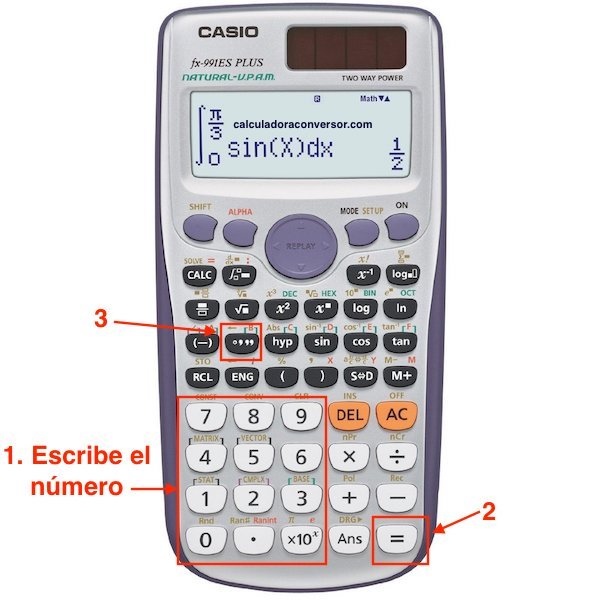 Usar calculadora científica para pasar de decimal a grados, minutos y segundos
