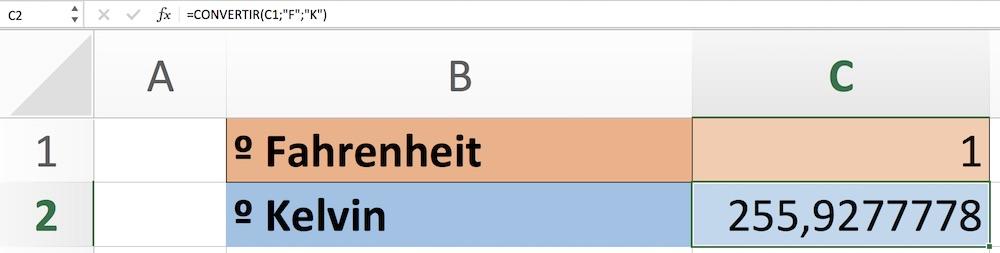 Conversión de Fahrenheit a Kelvin en Excel
