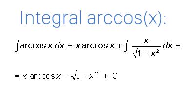 Fórmula de la integral del arcocoseno
