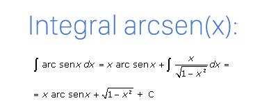 Fórmula de la integral del arcoseno