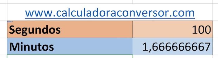 Segundos a minutos en Excel