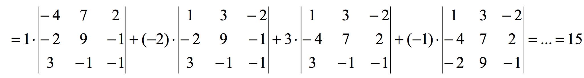 Determinante 4x4 resuelto por adjuntos