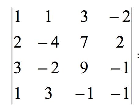 Ejemplo de determinante 4x4