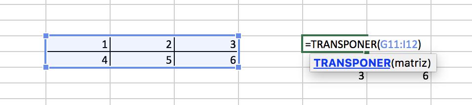 Función transponer en Excel