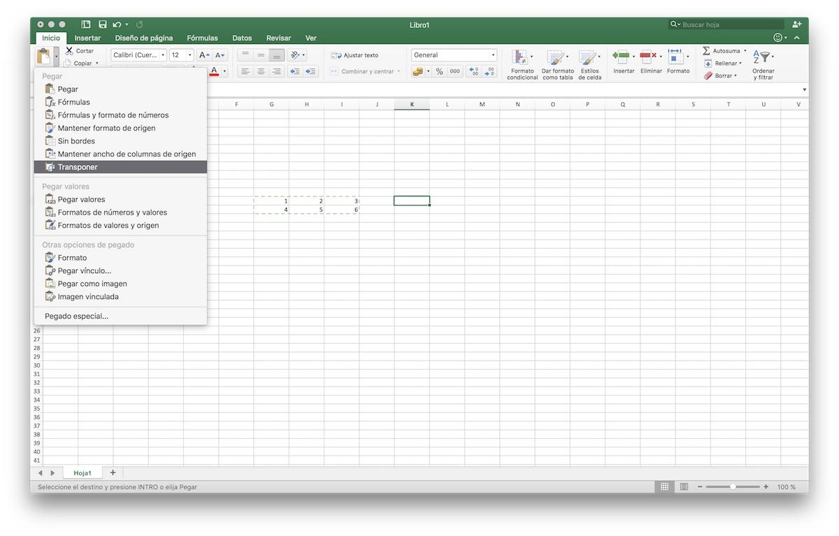 Matriz transpuesta en Excel