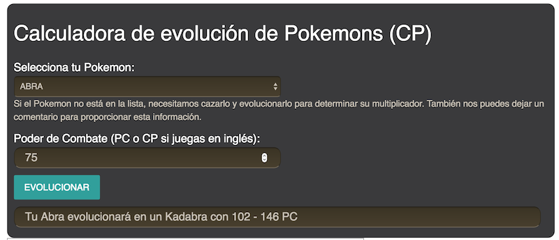 Calculadora Pokemon Go