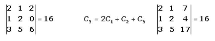 Combinación lineal en determinantes