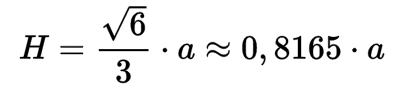 Fórmula de la altura de un tetraedro