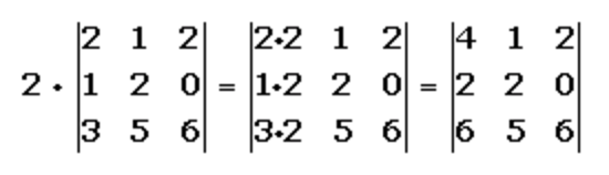 Multiplicación de un determinante por un número real