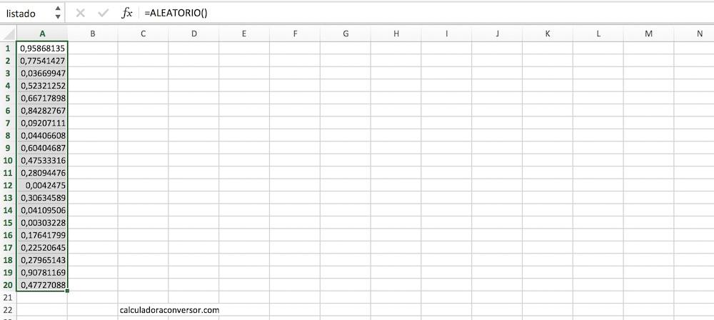 Números aleatorios sin repetición en Excel