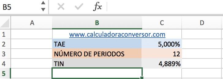 TAE a TIN en Excel