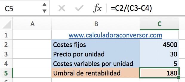 Umbral de rentabilidad en Excel