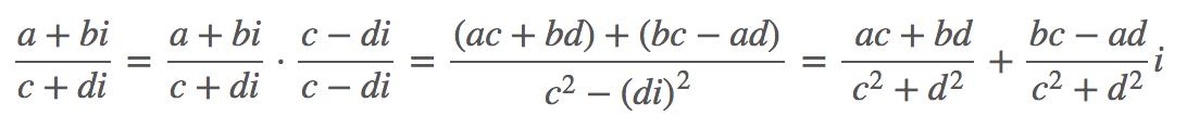 Demostración de la división de complejos en forma binómica