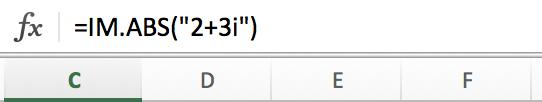 Calcular el módulo de un número complejo en Excel