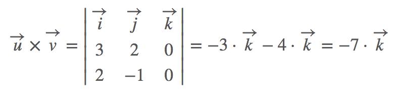 Ejemplo de producto vectorial de dos vectores en R2