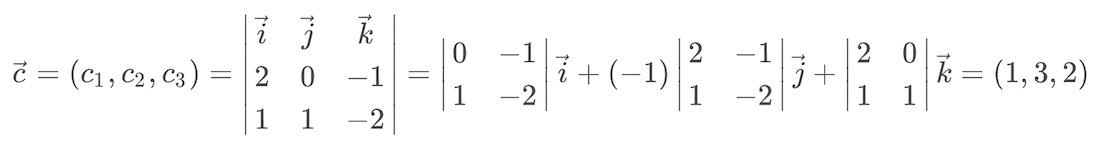 Ejercicio resuelto de producto vectorial de dos vectores