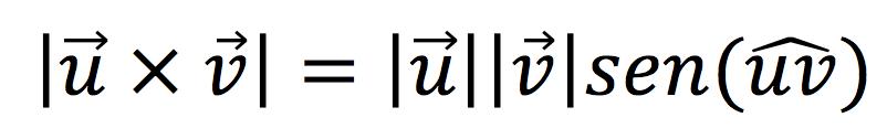 Fórmula para calcular el módulo de un producto vectorial