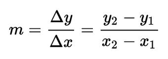 Fórmula para calcular la pendiente de una recta que pasa por dos puntos