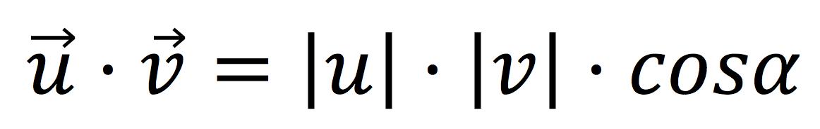 Fórmula del producto escalar de dos vectores