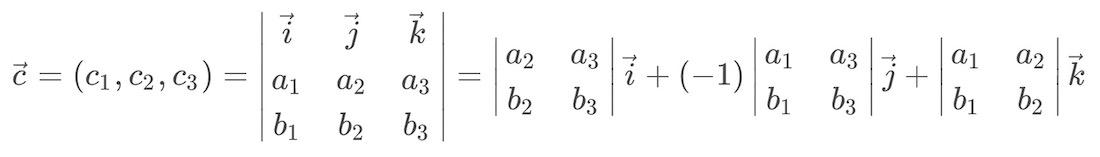 Fórmula del producto vectorial de dos vectores