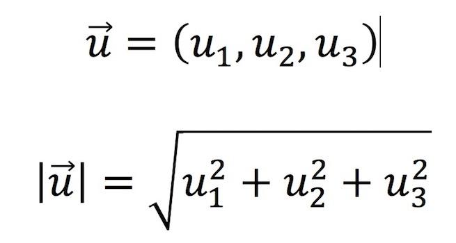 Fórmula para calcular el módulo de un vector tridimensional