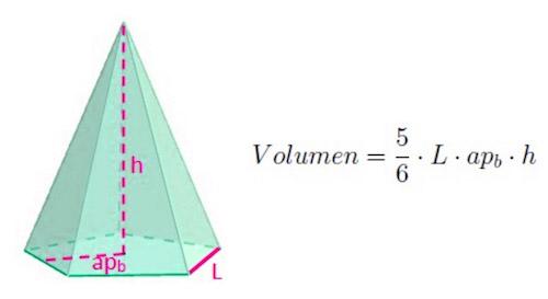 Fórmula para calcular el volumen de una pirámide pentagonal