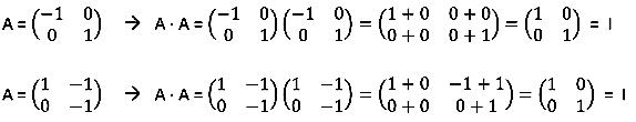 Ejemplos resueltos de matriz involutivas