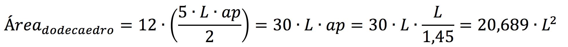 Demostración para sacar la fórmula del área de un dodecaedro