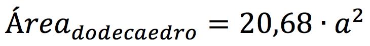 Fórmula para calcular el área de un dodecaedro