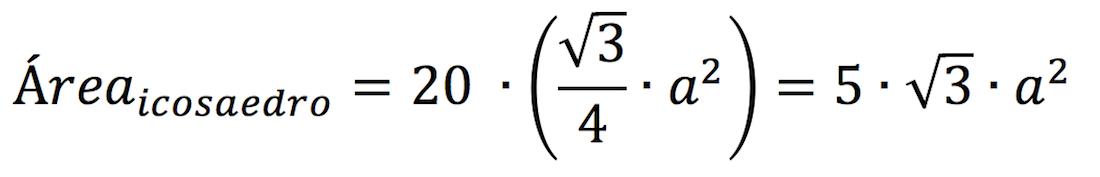 Demostración de la fórmula del área del icosaedro