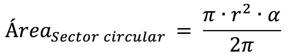 Fórmula para calcular el área del sector circular en radianes
