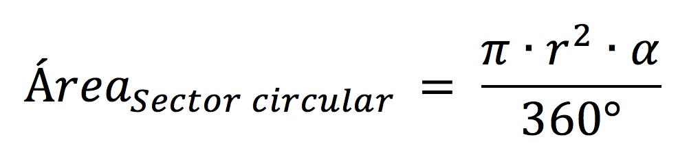 Fórmula para calcular el área de un sector circular