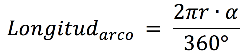 Fórmula para calcular la longitud de un arco